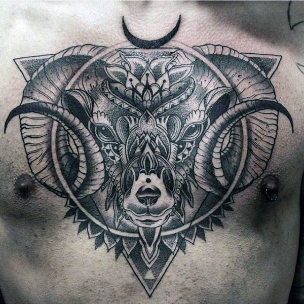 Circle And Triangle Dotwork Mens Goat Chest Tattoos