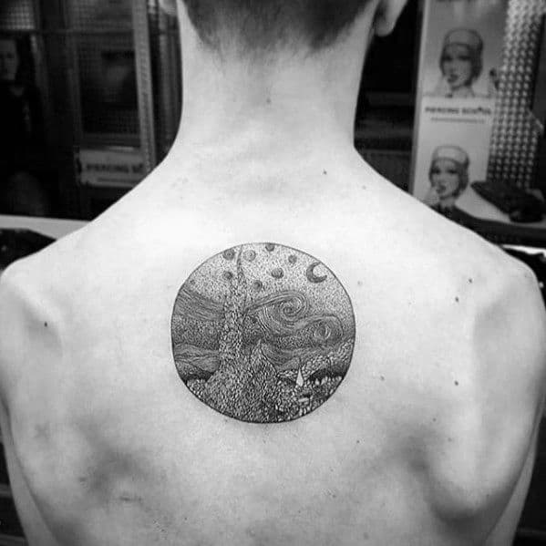 Circle Black And Grey Ink Guys Vincent Van Gogh Back Tattoos