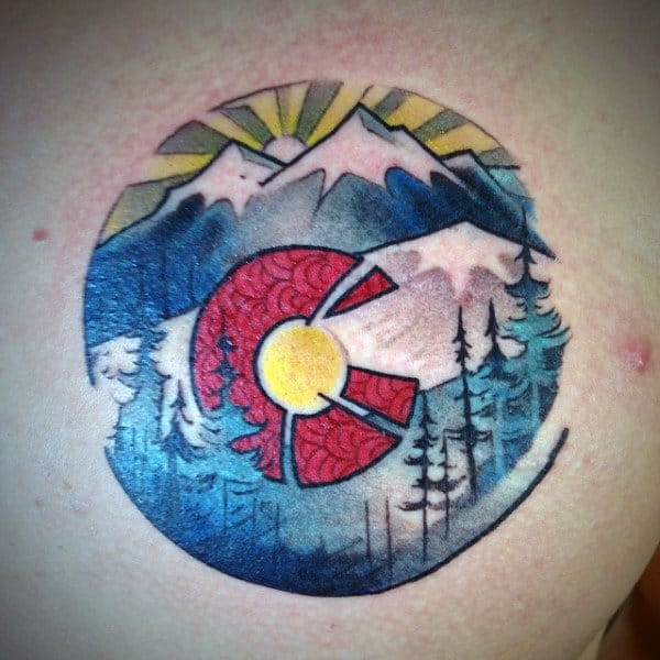 Circle Colorado Mens Chest Tattoos