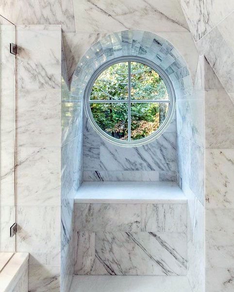 Circle Cool Marble Shower Window