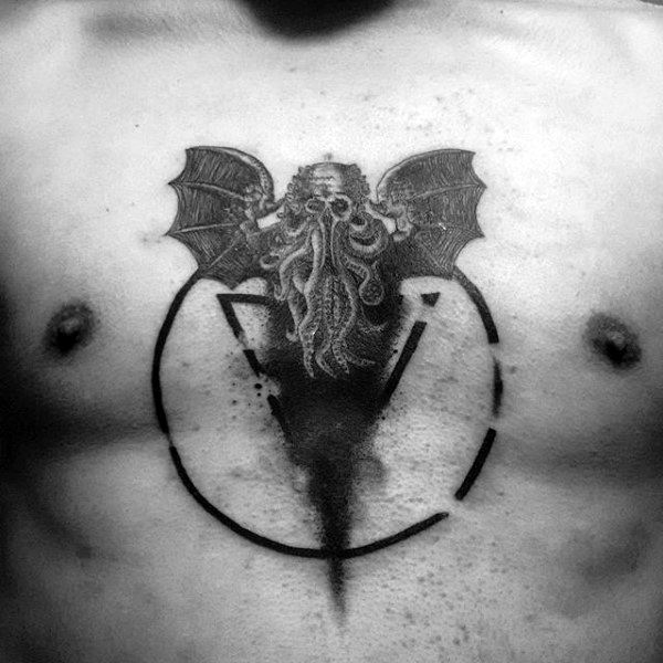 Circle Cthulhu Mens Middle Of Chest Tattoos