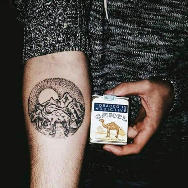 Circle Dotwork Camel Mountains Mens Inner Forearm Tattoos