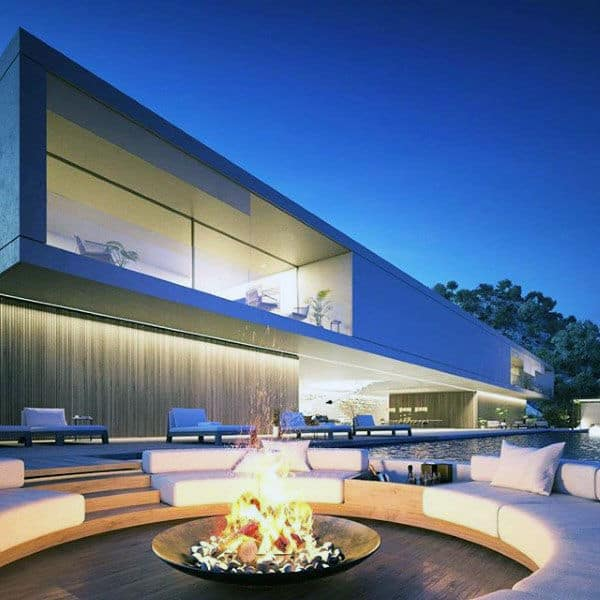 Circle Fire Pit Lounge Area Outdoors Of Home