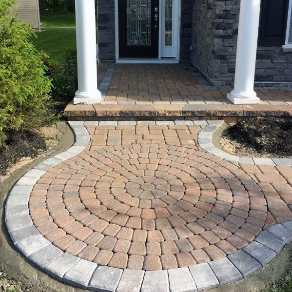 Circle Front Yard House Paver Walkway Ideas
