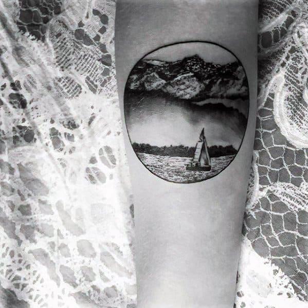 Circle Guys Tattoos With Lake Design
