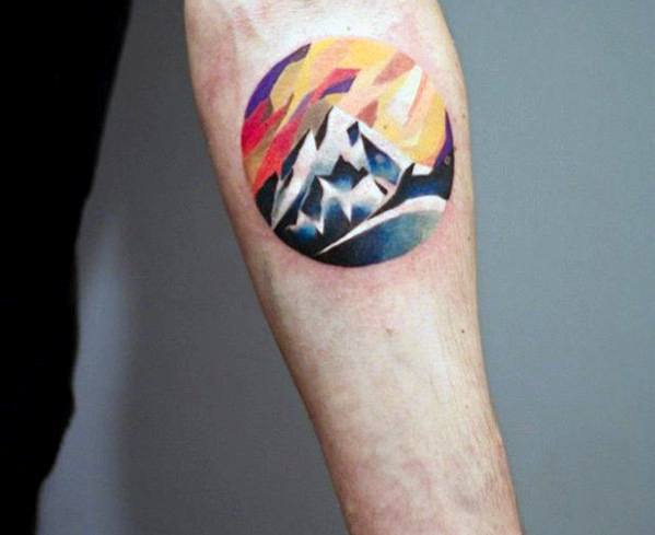 Circle Inner Forearm Rock Climbing Guys Tattoos