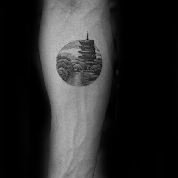 Circle Japanese Tower Mens Badass Small Tattoo Design On Inner Forearm