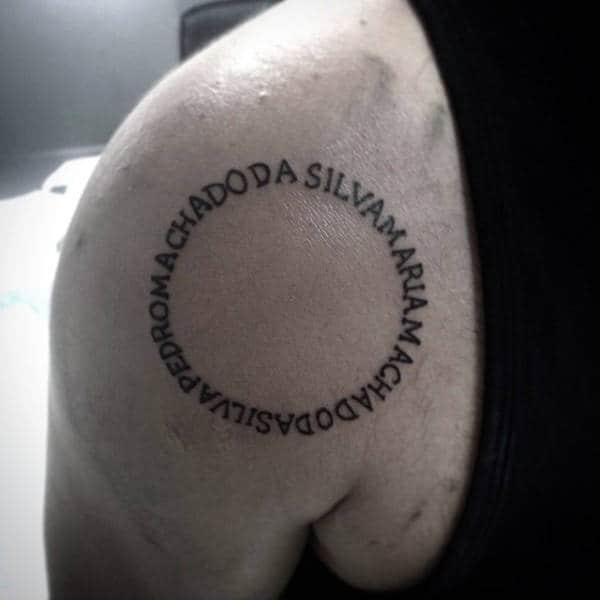 Circle Lettering Guys Back Of Shoulder Blade Tattoo Ideas