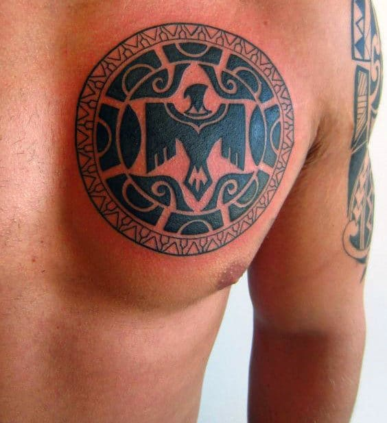 Circle Mens Tribal Eagle Chest Tattoo