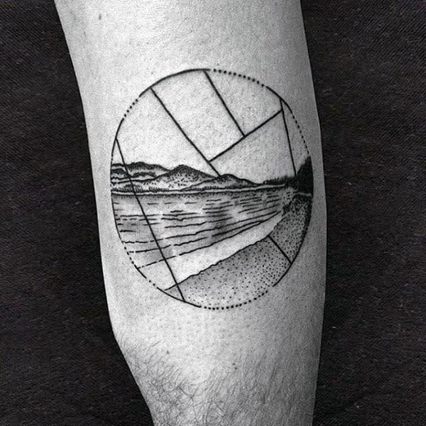 Circle Mountains Guys Minimalistic Tattoo On Arm