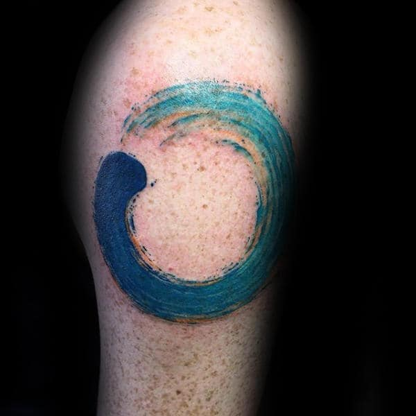 Circle Of Life Ocean Water Waves Enso Mens Arm Tattoo