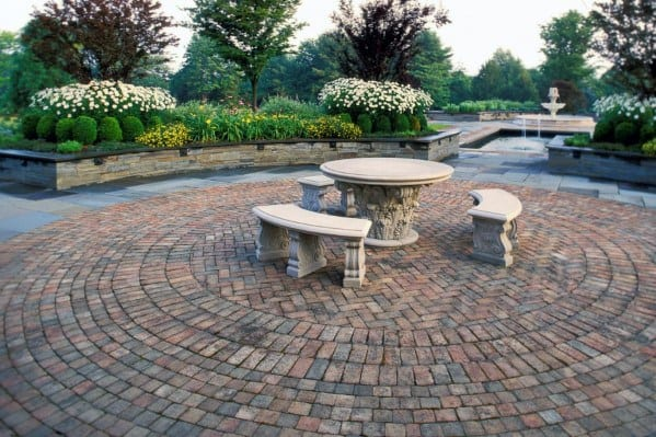 Circle Pattern Brick Patio Home Ideas
