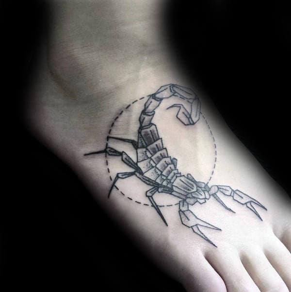 Circle Scorpio Mens Foot Tattoo