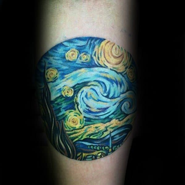 Circle Starry Night Guys Painting Forearm Tattoo