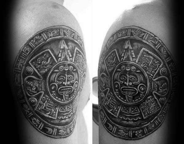 Circle Stone Mayan Guys Upper Arm Tattoos