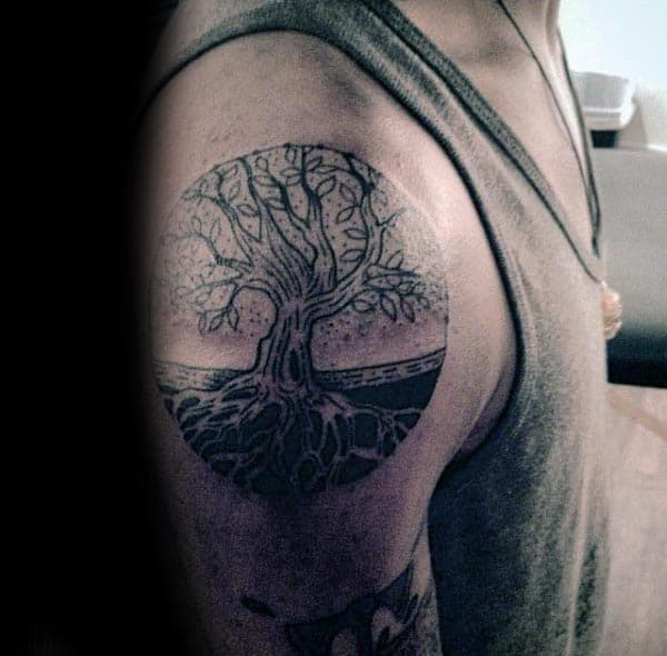 Circle Tree Of Life Gentlemens Upper Arm Tattoo Ideas