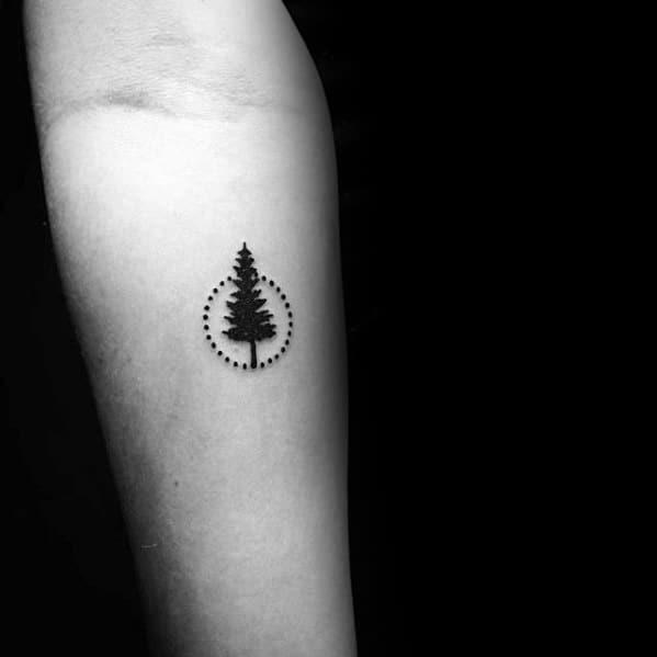 Circle Tree Simple Mens Forearm Tattoos