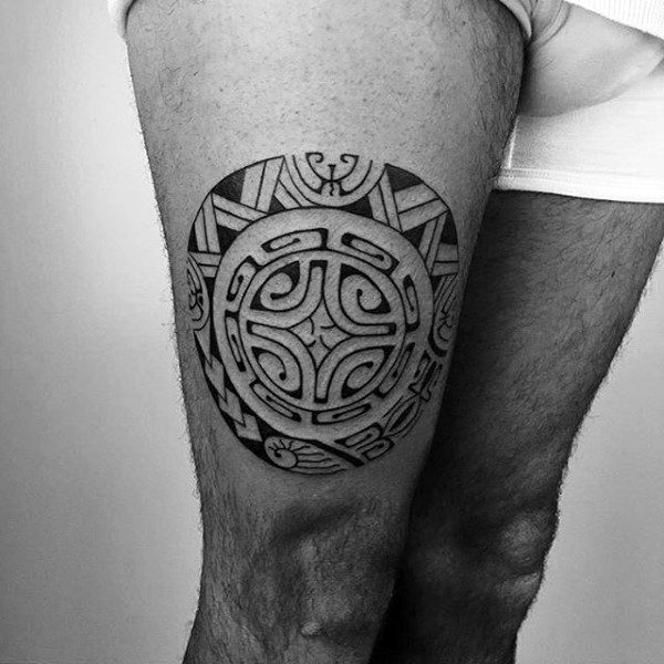30 tribal thigh tattoos for men manly ink ideas. Black Bedroom Furniture Sets. Home Design Ideas