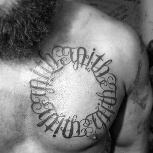 Circle Upper Chest Ambigram Mens Tattoos