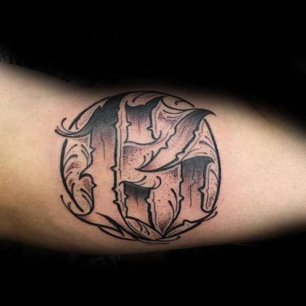 Circle With 13 Numbers Mens Arm Tattoos