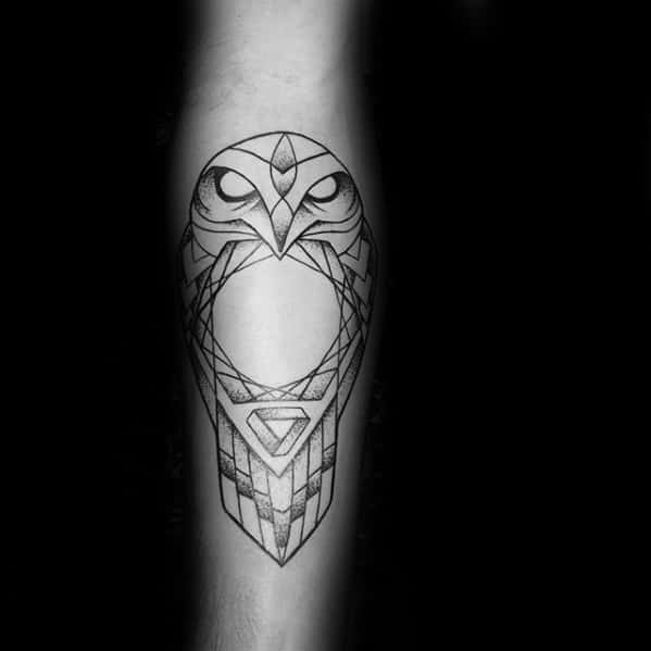 Circle With Geometric Owl Mens Inner Forearm Tattoo Designs