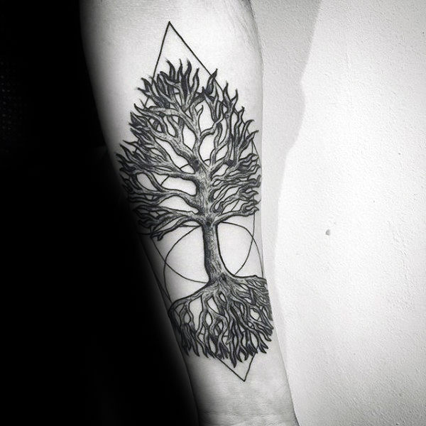Circle With Triangles Mens Tree Roots Forearm Tattoo