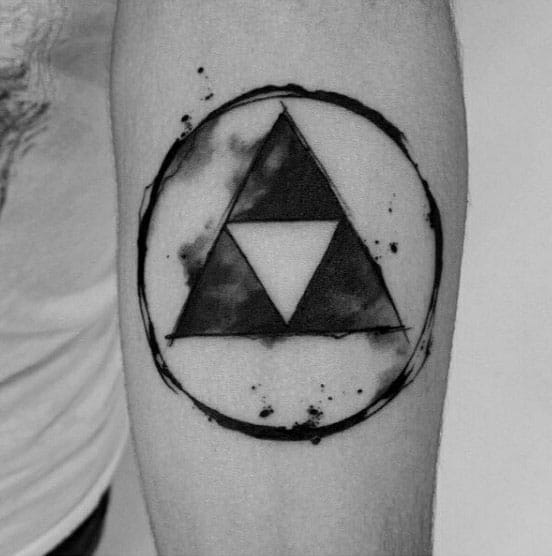 Circle With Triforce Watercolor Forearm Tatoos For Men