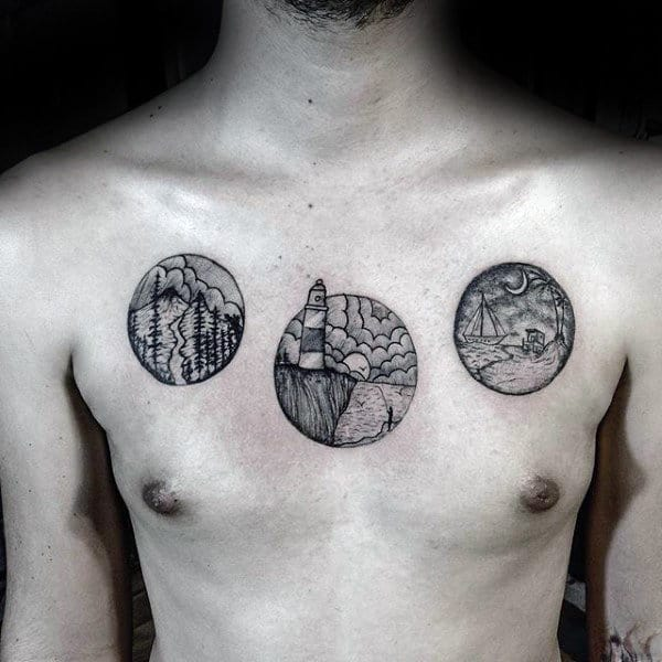 Circles Landscapes Chest Tattoos On Man