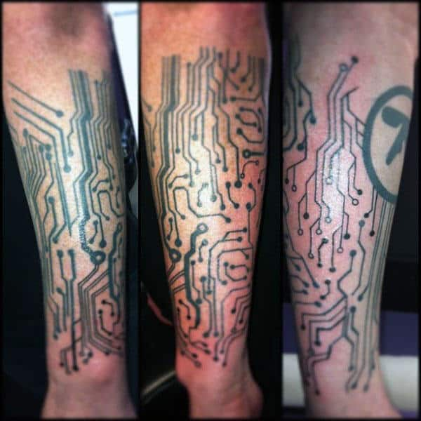 Circuit Board Tattoo Designs For Men On Leg