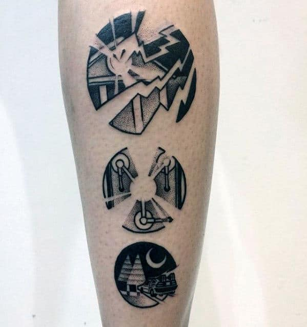 Circular Back To The Future Themed Guys Small Leg Tattoos
