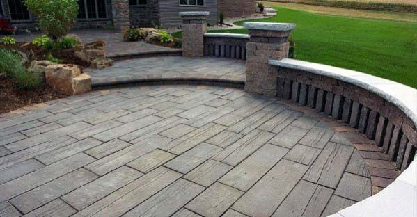 Circular Backyard Stamped Concrete Patio Design