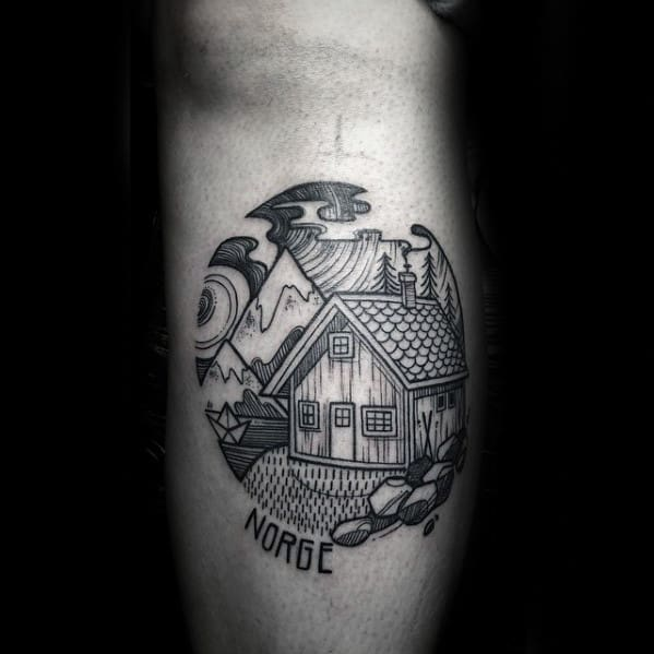 Circular Cabin Detailed Mens Leg Calf Tattoo