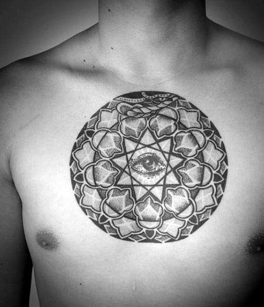 Circular Eye Of Providence Mens Geometric Pattern Chest Tattoo
