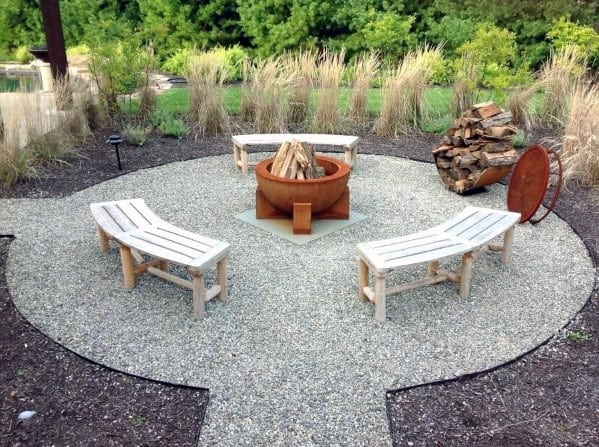 Circular Fire Pit Designs Gravel Patio