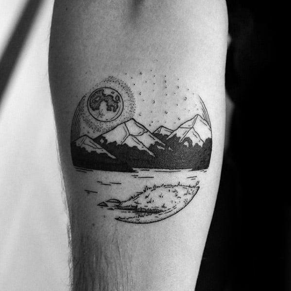 Circular Forearm Creative Lake Tattoos For Men