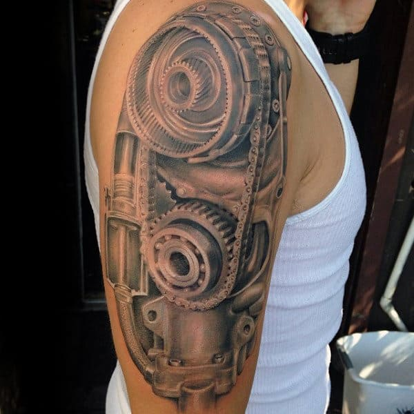 Circular Geared Engine Tattoo Male Arms