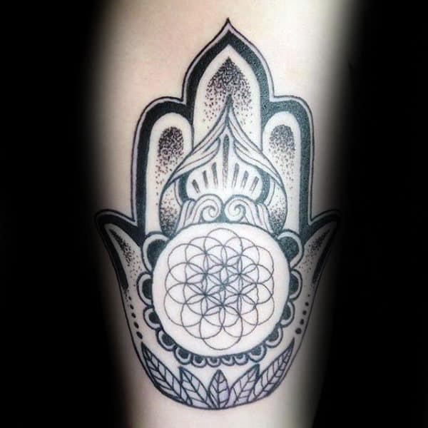 Circular Geometric Male Hamsa Inner Arm Bicep Tattoos