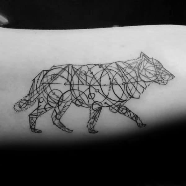 Circular Geometric Wolf Tattoos For Men On Bicep