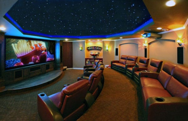 Circular Home Theater In Basement Of Home