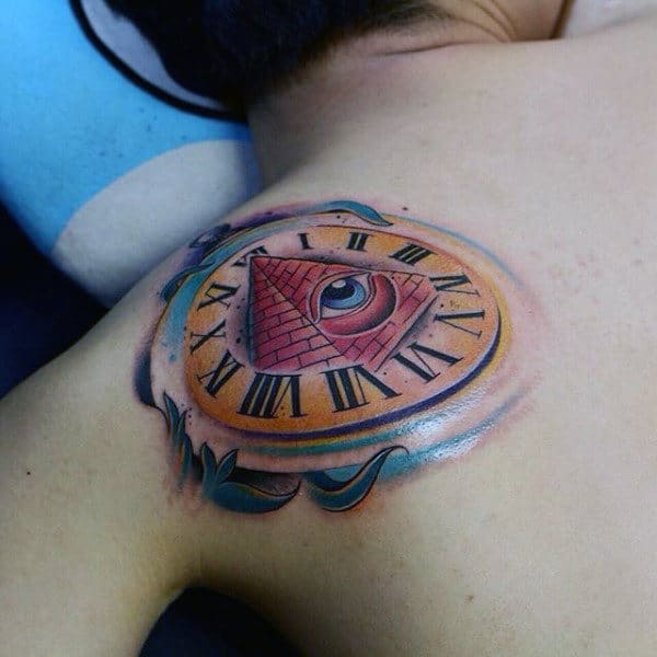 Circular Illuminati Tattoo Male Back