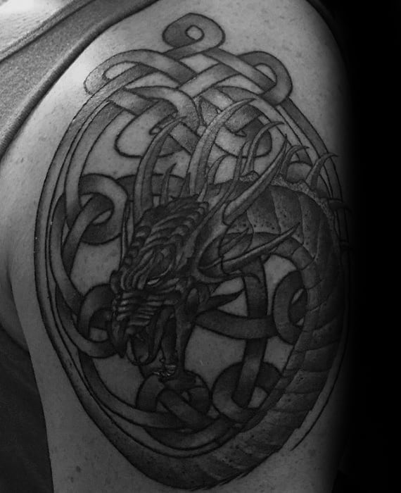 Circular Knots Celtic Dragon Mens Upper Arm Tattoo