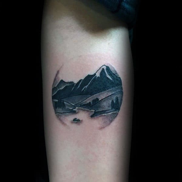 Circular Landscape Mountains Tattoos For Guys