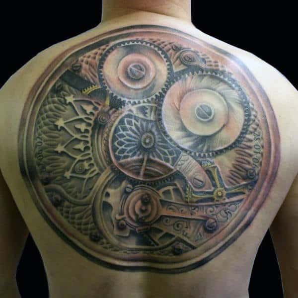 Circular Mechanical Gear Steampunk Tattoo Mens Back
