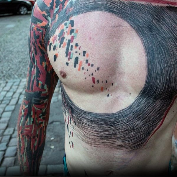 Circular Mens Abstract Chest Unique Tattoos