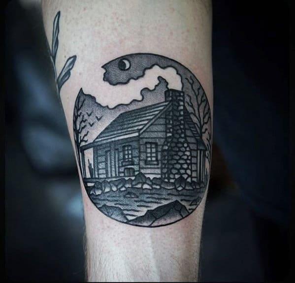 Circular Mens Small Cabin Forearm Tattoo