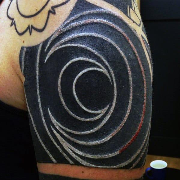 Circular Mens Upper Shoulder White Ink Tattoo Design