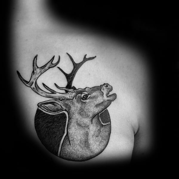 Circular Moose Upper Chest Guys Tattoos