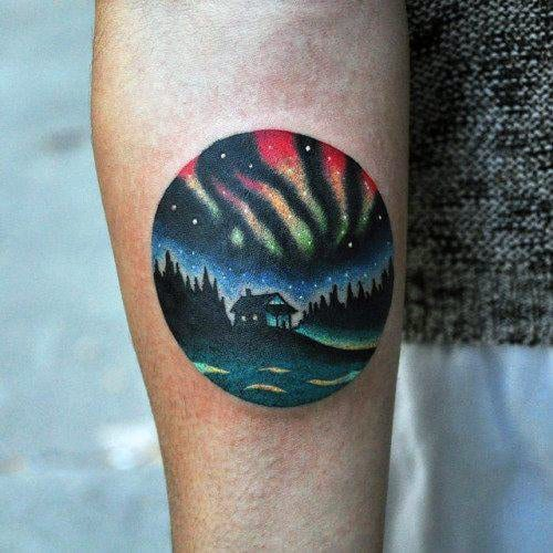 Circular Northern Lights Inner Forearm Guys Tattoos
