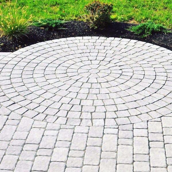 Circular Pattern Exterior Designs Paver Walkway