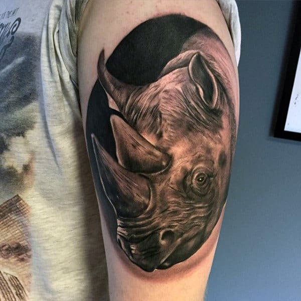 Circular Rhino Mens Realistic Upper Arm Tattoos